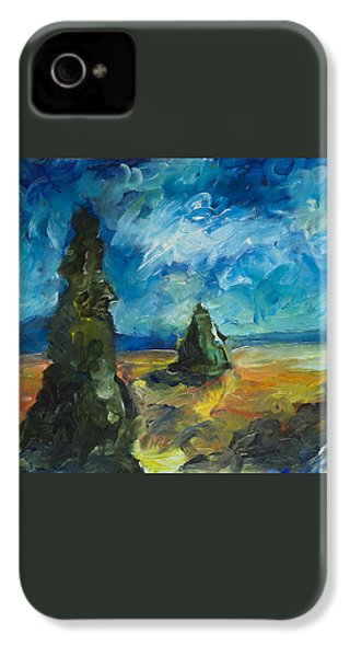 IPhone 4s Case featuring the painting Emerald Spires by Yulia Kazansky