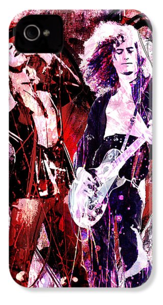 Led Zeppelin - Jimmy Page And Robert Plant IPhone 4s Case by Ryan Rock Artist