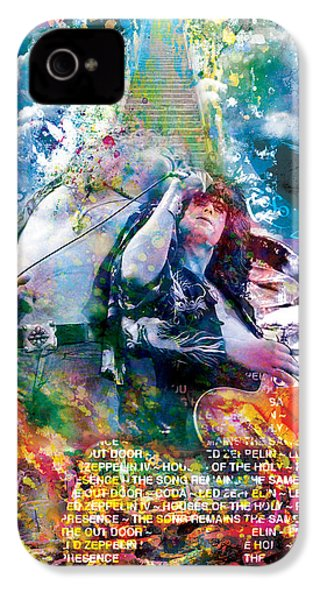 Led Zeppelin Original Painting Print  IPhone 4s Case by Ryan Rock Artist