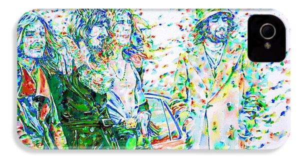 Led Zeppelin - Watercolor Portrait.2 IPhone 4s Case by Fabrizio Cassetta