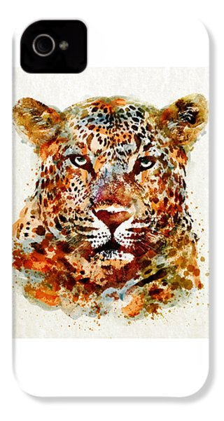 Leopard Head Watercolor IPhone 4s Case by Marian Voicu
