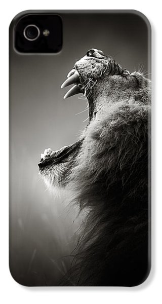 Lion Displaying Dangerous Teeth IPhone 4s Case by Johan Swanepoel