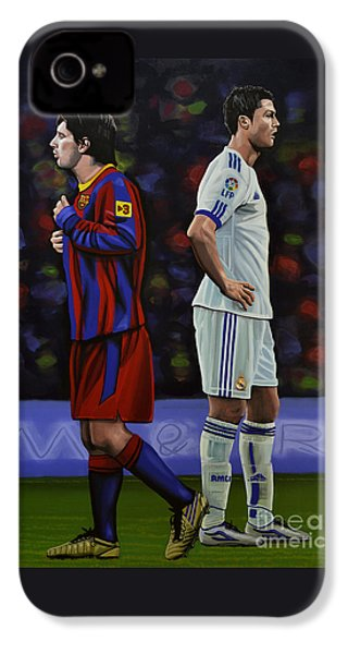 Lionel Messi And Cristiano Ronaldo IPhone 4s Case by Paul Meijering