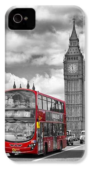 London - Houses Of Parliament And Red Bus IPhone 4s Case by Melanie Viola