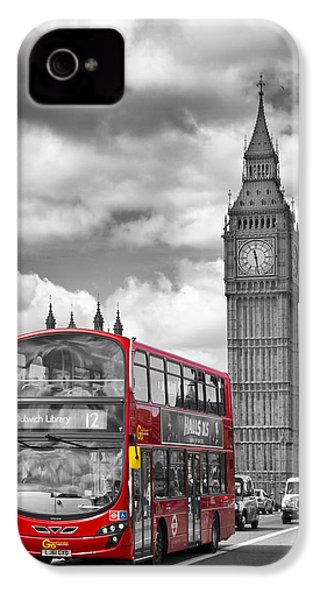 London - Houses Of Parliament And Red Bus IPhone 4s Case