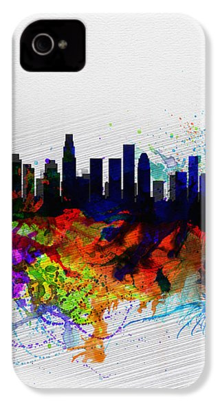 Los Angeles  Watercolor Skyline 2 IPhone 4s Case by Naxart Studio