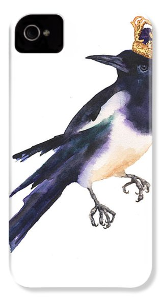 Magpie Watercolor IPhone 4s Case by Alison Fennell