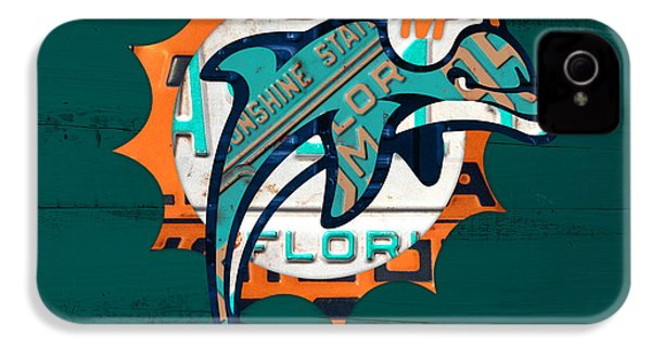 Miami Dolphins Football Team Retro Logo Florida License Plate Art IPhone 4s Case by Design Turnpike