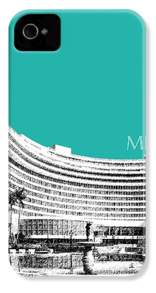 Miami Skyline Fontainebleau Hotel - Teal IPhone 4s Case by DB Artist