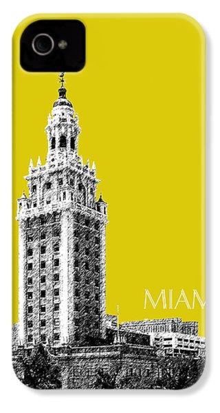 Miami Skyline Freedom Tower - Mustard IPhone 4s Case by DB Artist