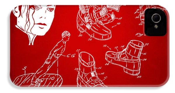 Michael Jackson Anti-gravity Shoe Patent Artwork Red IPhone 4s Case by Nikki Marie Smith