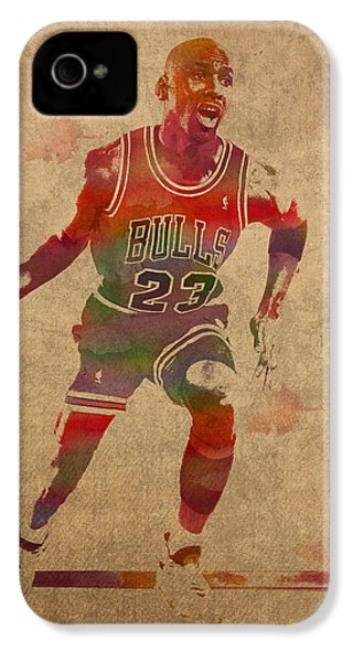 Michael Jordan Chicago Bulls Vintage Basketball Player Watercolor Portrait On Worn Distressed Canvas IPhone 4s Case by Design Turnpike