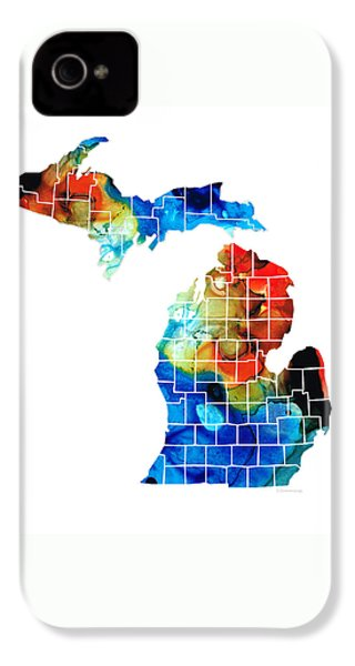 Michigan State Map - Counties By Sharon Cummings IPhone 4s Case by Sharon Cummings