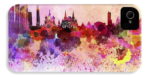 Moscow Skyline In Watercolor Background IPhone 4s Case by Pablo Romero