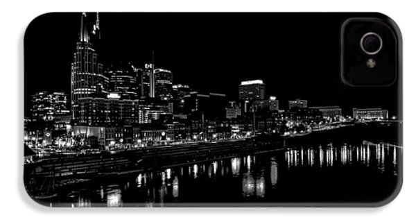 Nashville Skyline At Night In Black And White IPhone 4s Case by Dan Sproul