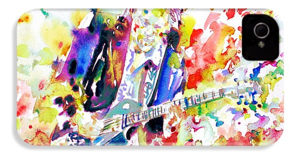 Neil Young Playing The Guitar - Watercolor Portrait.2 IPhone 4s Case by Fabrizio Cassetta