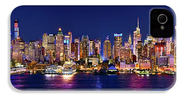 New York City Nyc Midtown Manhattan At Night IPhone 4s Case by Jon Holiday
