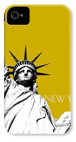 New York Skyline Statue Of Liberty - Gold IPhone 4s Case by DB Artist