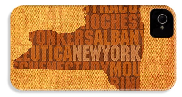 New York Word Art State Map On Canvas IPhone 4s Case by Design Turnpike