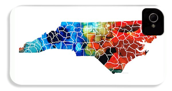 North Carolina - Colorful Wall Map By Sharon Cummings IPhone 4s Case by Sharon Cummings