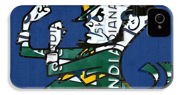Notre Dame Fighting Irish Leprechaun Vintage Indiana License Plate Art  IPhone 4s Case by Design Turnpike
