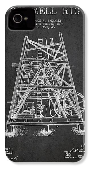 Oil Well Rig Patent From 1893 - Dark IPhone 4s Case by Aged Pixel