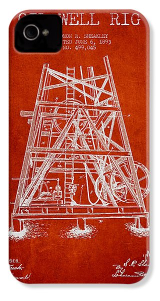 Oil Well Rig Patent From 1893 - Red IPhone 4s Case by Aged Pixel