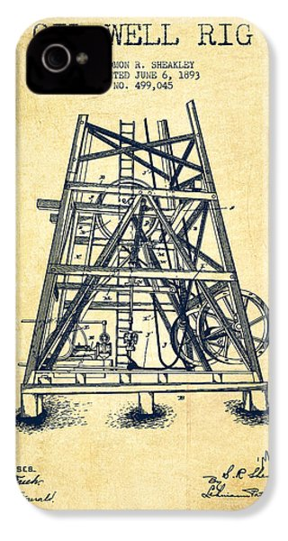 Oil Well Rig Patent From 1893 - Vintage IPhone 4s Case by Aged Pixel