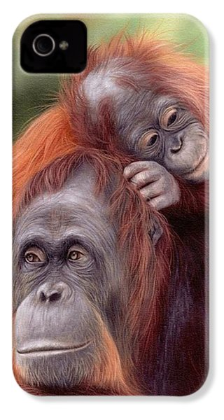Orangutans Painting IPhone 4s Case by Rachel Stribbling