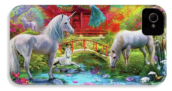 IPhone 4s Case featuring the drawing Orietnal Unicorns by Jan Patrik Krasny