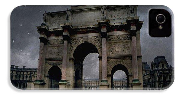 Paris Arc Du Carousel - Louvre Museum Arc De Triomphe - Starry Night Blue Paris Louvre Courtyard IPhone 4s Case