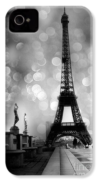 Paris Eiffel Tower Surreal Black And White Photography - Eiffel Tower Bokeh Surreal Fantasy Night  IPhone 4s Case by Kathy Fornal