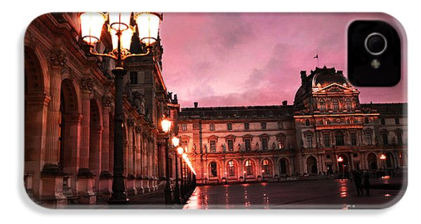 Paris Louvre Museum Night Architecture Street Lamps - Paris Louvre Museum Lanterns Night Lights IPhone 4s Case by Kathy Fornal