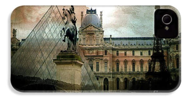 Paris Louvre Museum Pyramid Architecture - Eiffel Tower Photo Montage Of Paris Landmarks IPhone 4s Case by Kathy Fornal