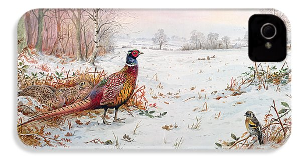 Pheasant And Bramblefinch In The Snow IPhone 4s Case by Carl Donner