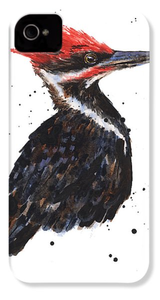 Pileated Woodpecker Watercolor IPhone 4s Case by Alison Fennell