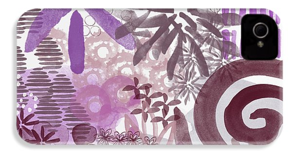 Plum And Grey Garden- Abstract Flower Painting IPhone 4s Case by Linda Woods