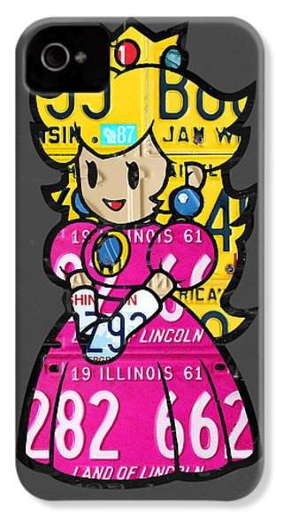 Princess Peach From Mario Brothers Nintendo Recycled License Plate Art Portrait IPhone 4s Case by Design Turnpike