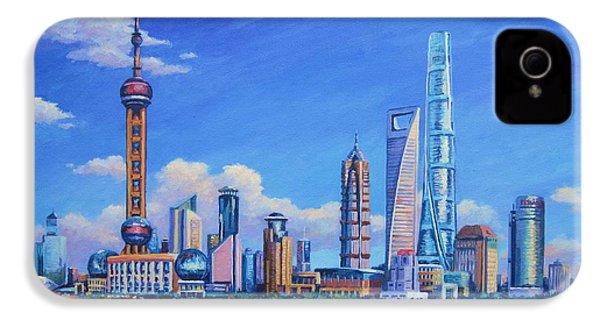 Pudong Skyline  Shanghai IPhone 4s Case by John Clark