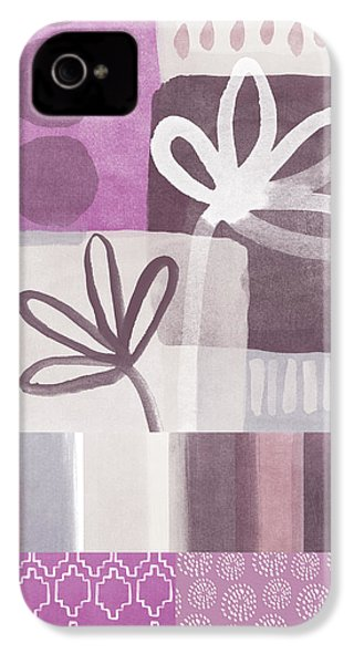 Purple Patchwork- Contemporary Art IPhone 4s Case by Linda Woods