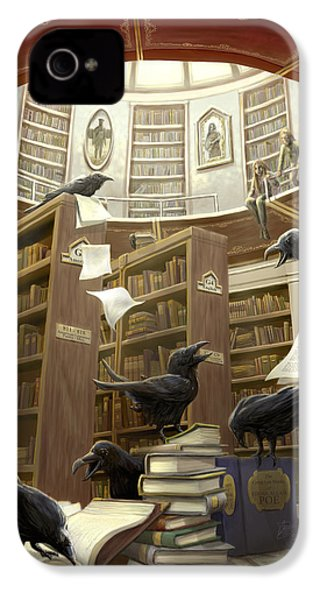 Ravens In The Library IPhone 4s Case by Rob Carlos