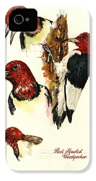 Red Headed Woodpecker Bird IPhone 4s Case by Juan  Bosco