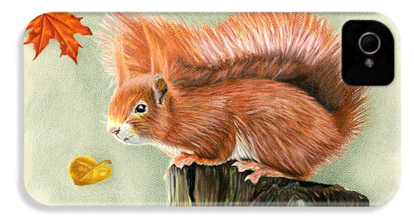 Red Squirrel In Autumn IPhone 4s Case by Sarah Batalka