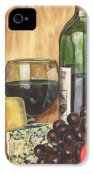 Red Wine And Cheese IPhone 4s Case by Debbie DeWitt