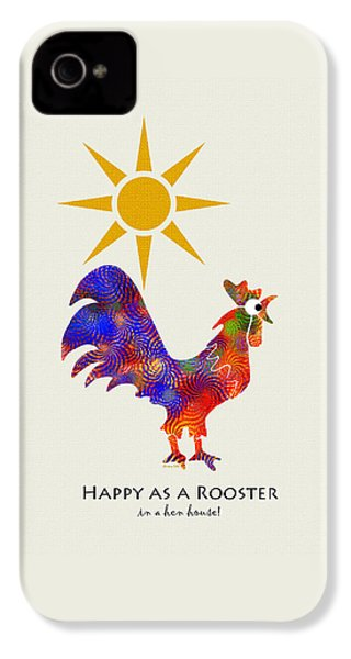 Rooster Pattern Art IPhone 4s Case by Christina Rollo