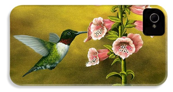 Ruby Throated Hummingbird And Foxglove IPhone 4s Case