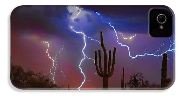 Saguaro Lightning Nature Fine Art Photograph IPhone 4s Case