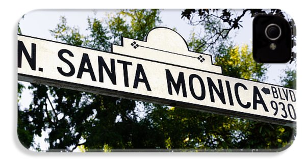 Santa Monica Blvd Street Sign In Beverly Hills IPhone 4s Case by Paul Velgos