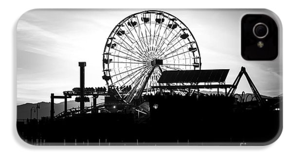 Santa Monica Ferris Wheel Black And White Photo IPhone 4s Case by Paul Velgos