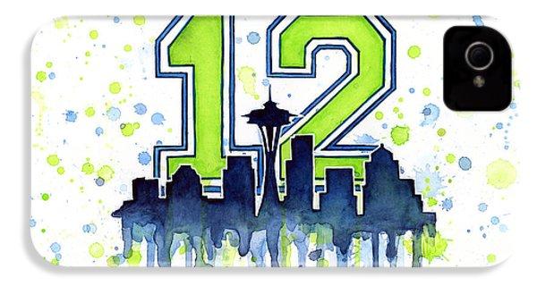 Seattle Seahawks 12th Man Art IPhone 4s Case by Olga Shvartsur
